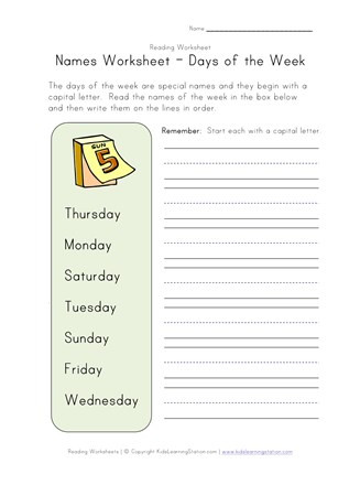 1st Grade Capitalization Worksheets Capitalize Days Of the Week
