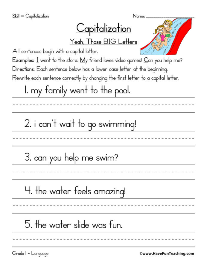 1st Grade Capitalization Worksheets Grade Nine Math Teaching Capitalization Worksheets Cause and