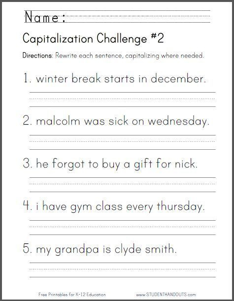 1st Grade Capitalization Worksheets Printable Grammar Worksheets 1st Grade In 2020 with Images