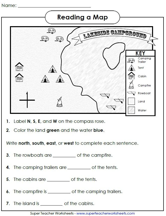 1st Grade Map Skills Worksheets Reading A Map Cardinal Directions