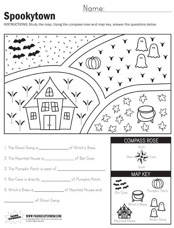 1st Grade Map Skills Worksheets Spookytown Map Worksheet