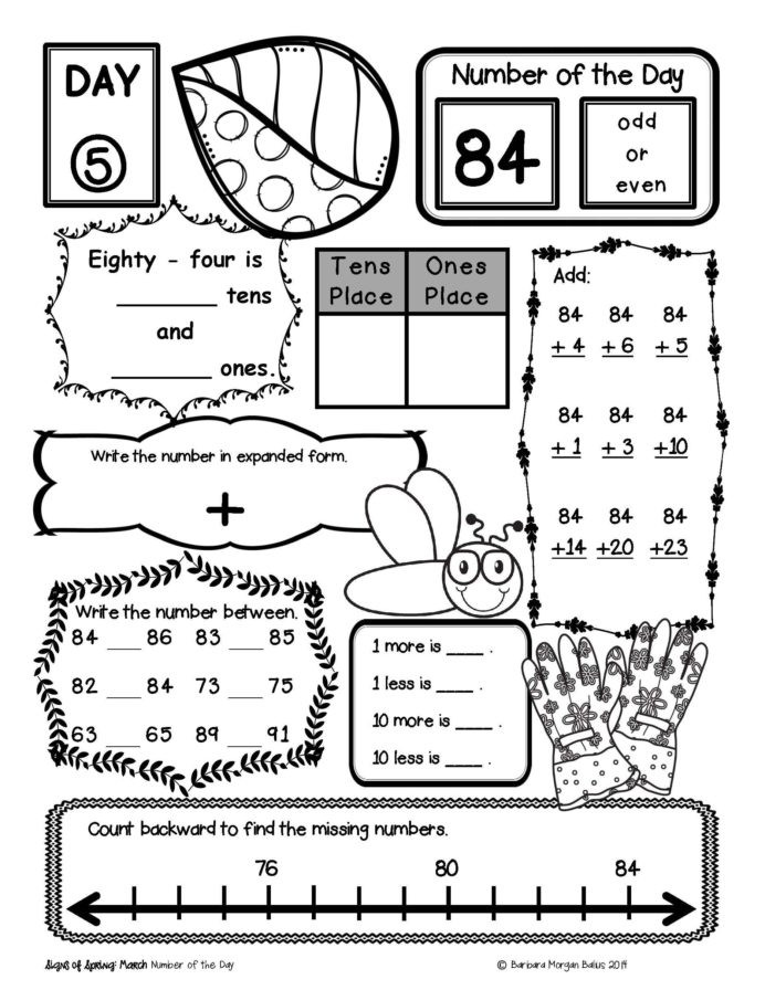 1st Grade Morning Work Worksheets Place Value Number Sense Practice the Morning Work Stem