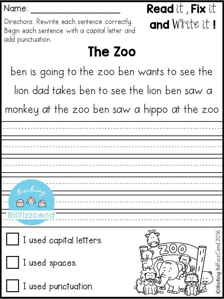 2nd Grade Editing Worksheets Free Fix It Up Sentences