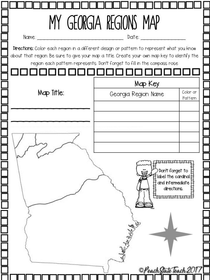2nd Grade Habitat Worksheets Free Ga Regions Map Activity and Questions