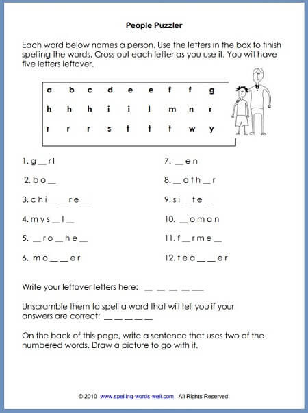2nd Grade Spelling Worksheet Second Grade Worksheets for Language Learning Fun
