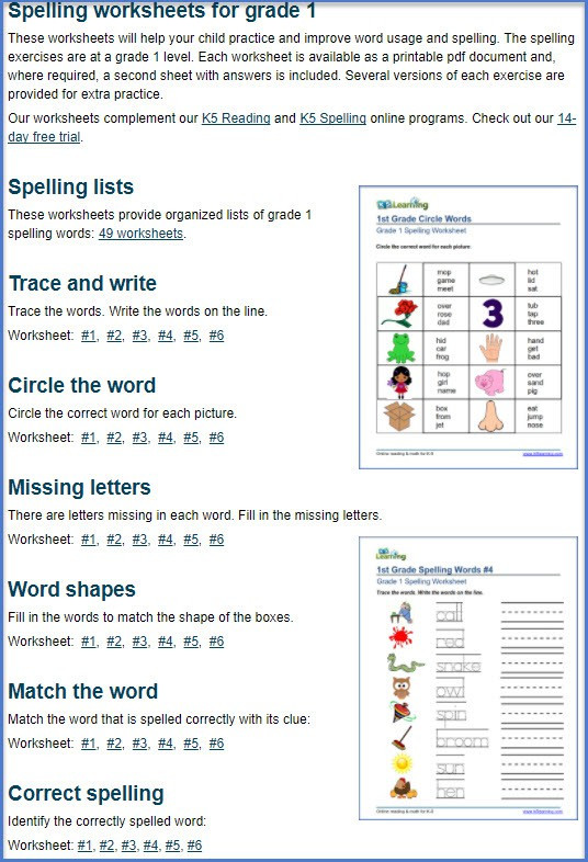2nd Grade Spelling Worksheets Spell It for Second Grade 1 Worksheets