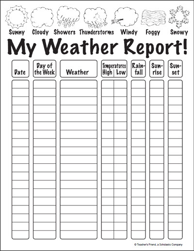 2nd Grade Weather Worksheets My Weather Report Worksheet & Printables