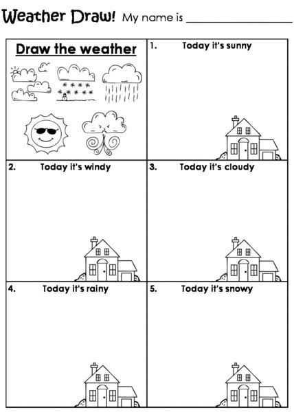 2nd Grade Weather Worksheets Weather Draw Worksheet for Kindergarten 2nd Grade