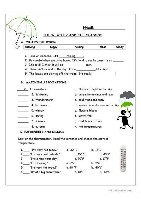 2nd Grade Weather Worksheets Weather In the Seasons Worksheets