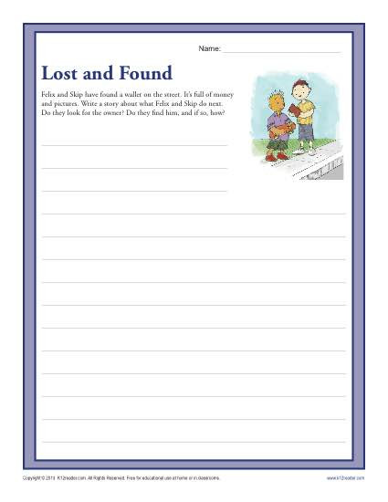 3rd Grade Essay Writing Worksheet Lost and Found