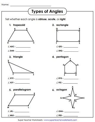 3rd Grade Geometry Worksheets Pdf Acute Obtuse Right Angles