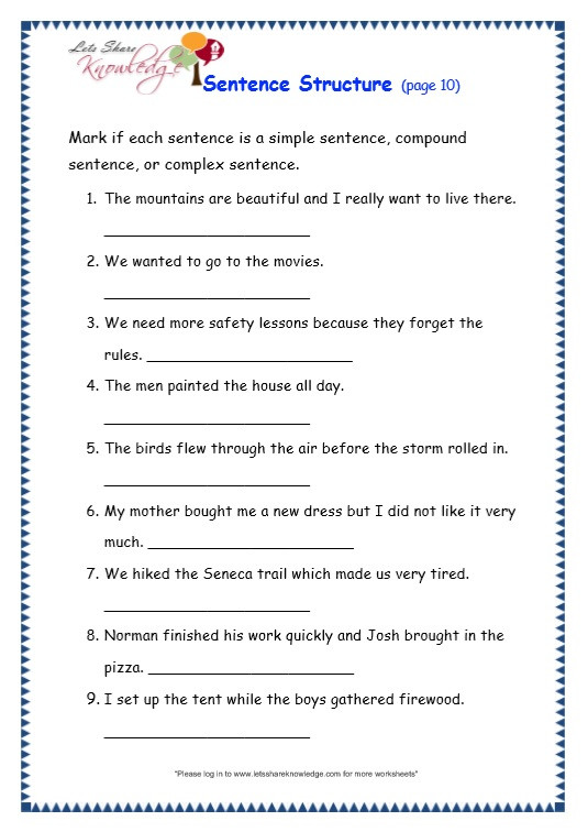 3rd Grade Grammar Worksheets Grade 3 Grammar topic 36 Sentence Structure Worksheets