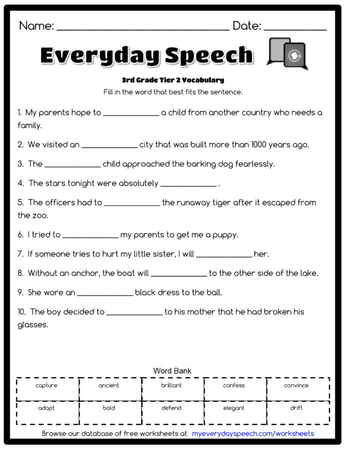 3rd Grade Vocabulary Worksheets Pdf In Second Grade Third Grade Vocabulary Worksheets Sentence