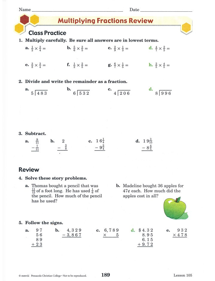 4th Grade Abeka Math Worksheets Abeka Grade 4 Homeschool Child Arithmetic Kit