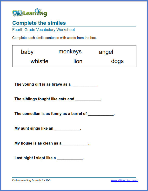 4th Grade English Worksheets Grade 4 Vocabulary Worksheets – Printable and organized by