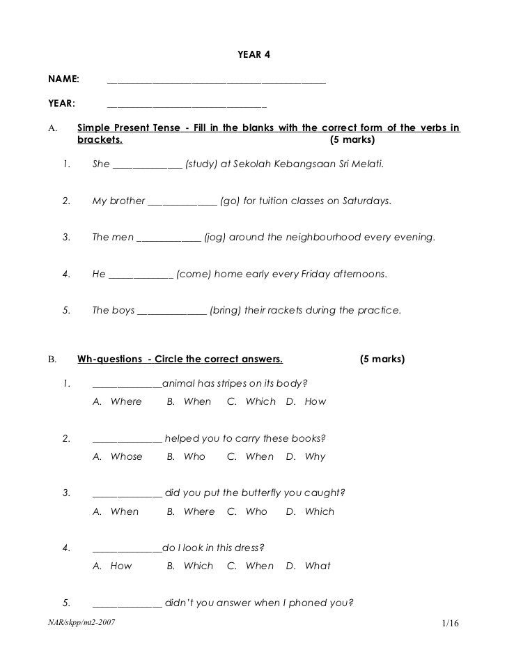 4th Grade Grammar Worksheets Pdf English Year 4