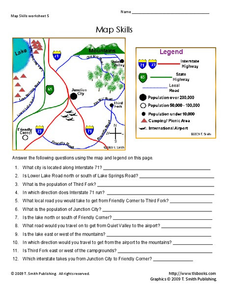 4th Grade Map Skills Worksheets Map Skills Worksheet for 2nd 4th Grade
