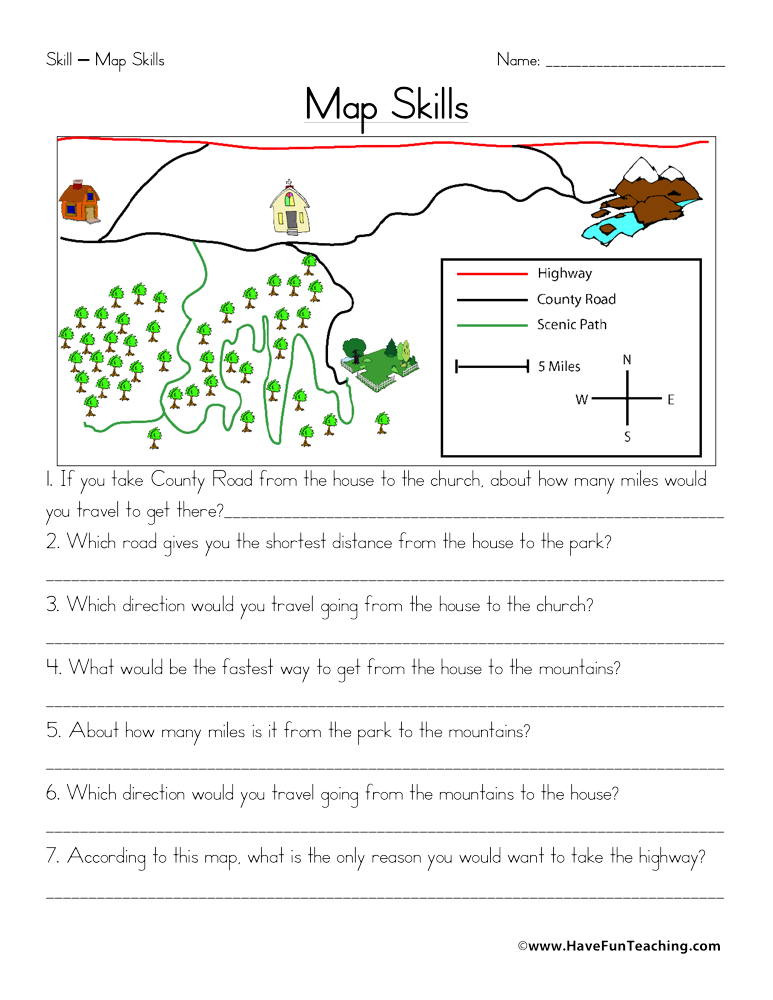 4th Grade Map Skills Worksheets Map Skills Worksheet