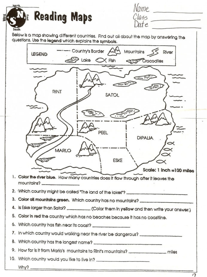 4th Grade Map Skills Worksheets Map Skills Worksheets to Printable Free at Math In Grade