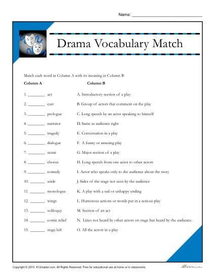 4th Grade Vocabulary Worksheets Pdf Drama Vocabulary Match Worksheet