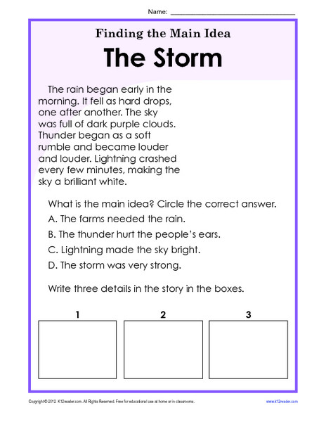 5th Grade Main Idea Worksheet Finding the Main Idea Storm Worksheet for 1st 2nd Grade Free
