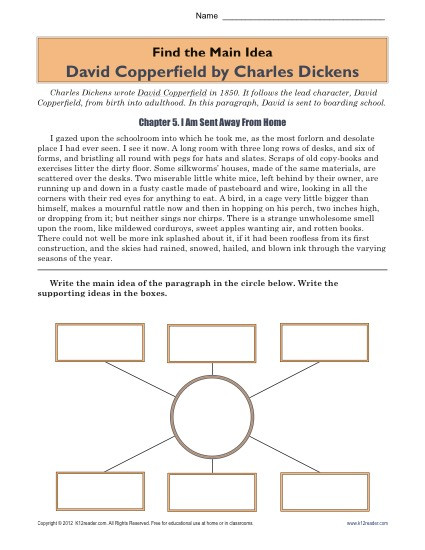 5th Grade Main Idea Worksheet High School Main Idea Worksheet About the Book David