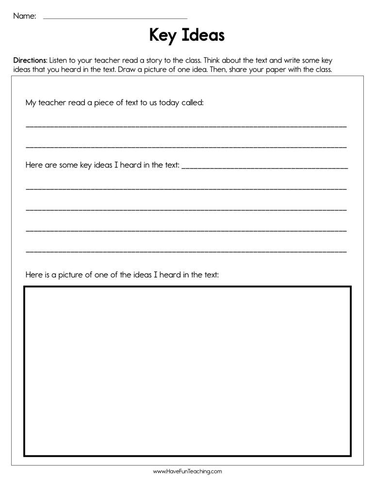 5th Grade Main Idea Worksheet Key Ideas Worksheet
