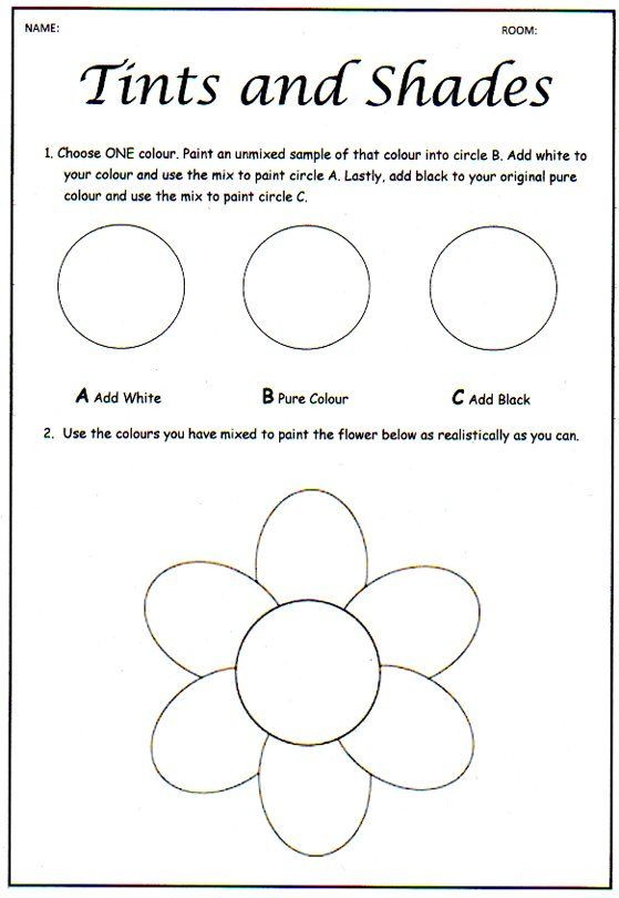 6th Grade Art Worksheets Ce Upon An Art Room Tinting and Shading Colour theory