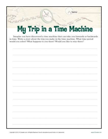 6th Grade Essay Writing Worksheets My Time Machine Trip
