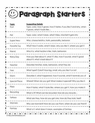 6th Grade Essay Writing Worksheets Paragraph Prompts