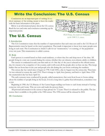 6th Grade Essay Writing Worksheets Write the Conclusion Writing Activity the U S Census