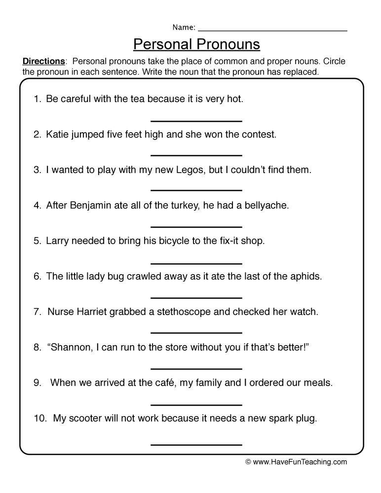 6th Grade Pronoun Worksheets Personal Pronouns Worksheet