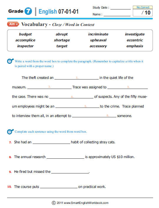 "7th Grade Language Arts Worksheets English Worksheets for 7th Graders لم يسبق له Ù…Ø ÙŠÙ"" الصور"