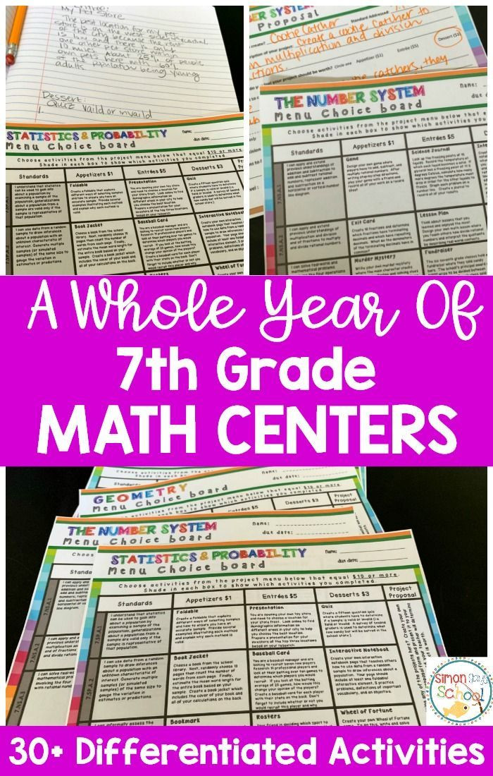 7th Grade Math Enrichment Worksheets 7th Grade Math Choice Boards Bundle Enrichment Math Menus