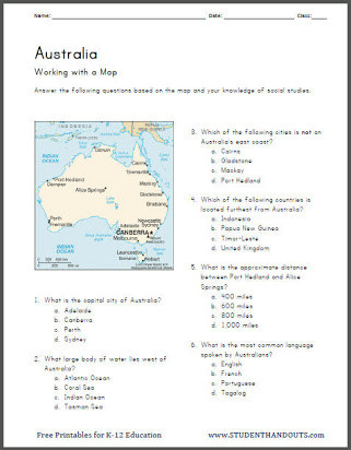 7th Grade World History Worksheets Australian History Worksheets Free