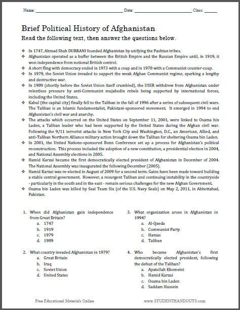 7th Grade World History Worksheets Brief Political History Of Afghanistan Multiple Choice