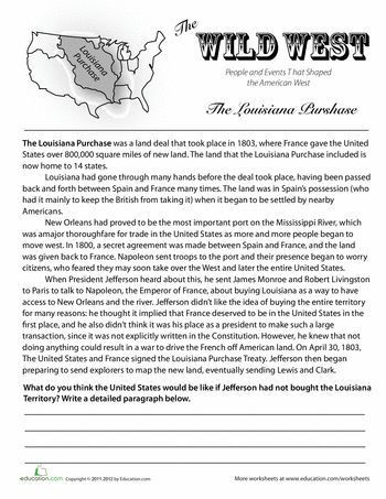 7th Grade World History Worksheets History Of the Louisiana Purchase