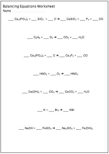 8th Grade Chemistry Worksheets Balancing Chemical Equations Worksheet Maker Customizable