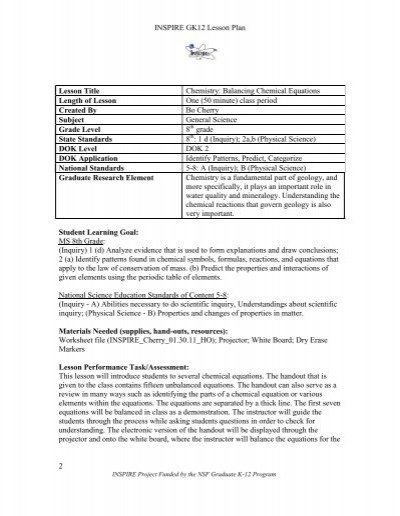 8th Grade Chemistry Worksheets Chemistry Balancing Chemical Equations