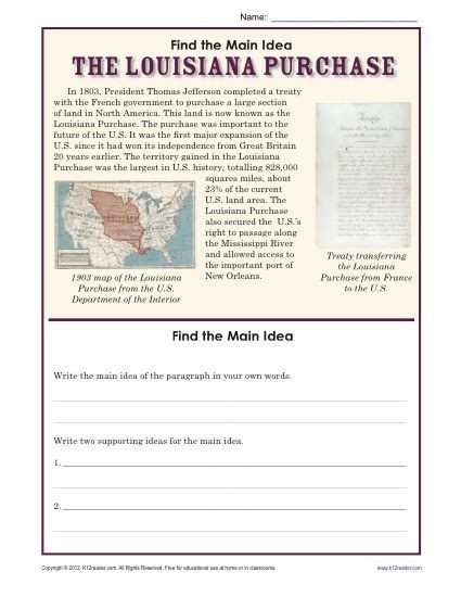 8th Grade Main Idea Worksheets 5th Grade Main Idea Worksheet About the Louisiana Purchase