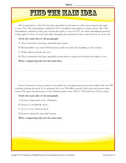 8th Grade Main Idea Worksheets Middle School Main Idea Reading Passage Worksheet