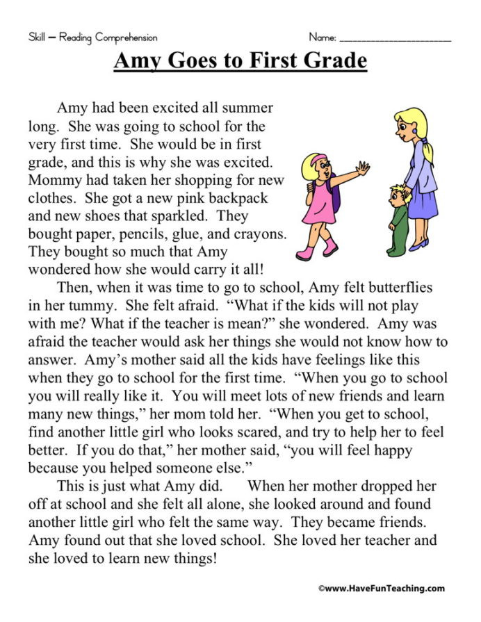 8th Grade Reading Worksheets Amy Goes to First Grade Reading Prehension Worksheet Have