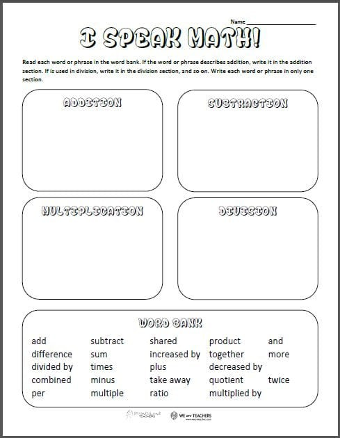 8th Grade Vocabulary Worksheets Free Printable Math Vocabulary sort Weareteachers