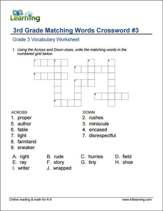 8th Grade Vocabulary Worksheets Grade 3 Vocabulary Worksheets by K5 Learning