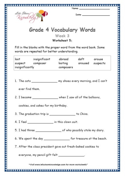 8th Grade Vocabulary Worksheets Grade Vocabulary Worksheets Week Lets Knowledge Free