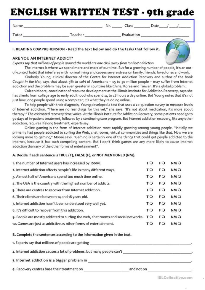 9th Grade Reading Comprehension Worksheet the Internet Test 9th Grade English Esl Worksheets for