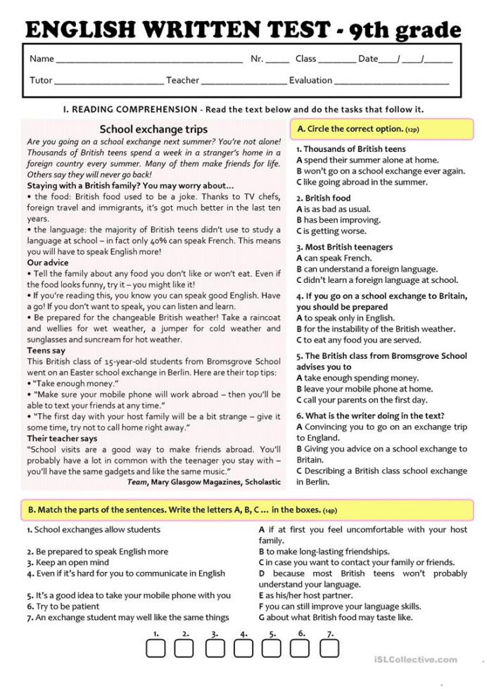 9th Grade Reading Worksheets Exchange Programmes Test 9th Grade Version English