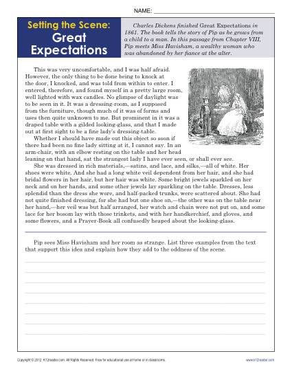 9th Grade Reading Worksheets Setting the Scene Great Expectations