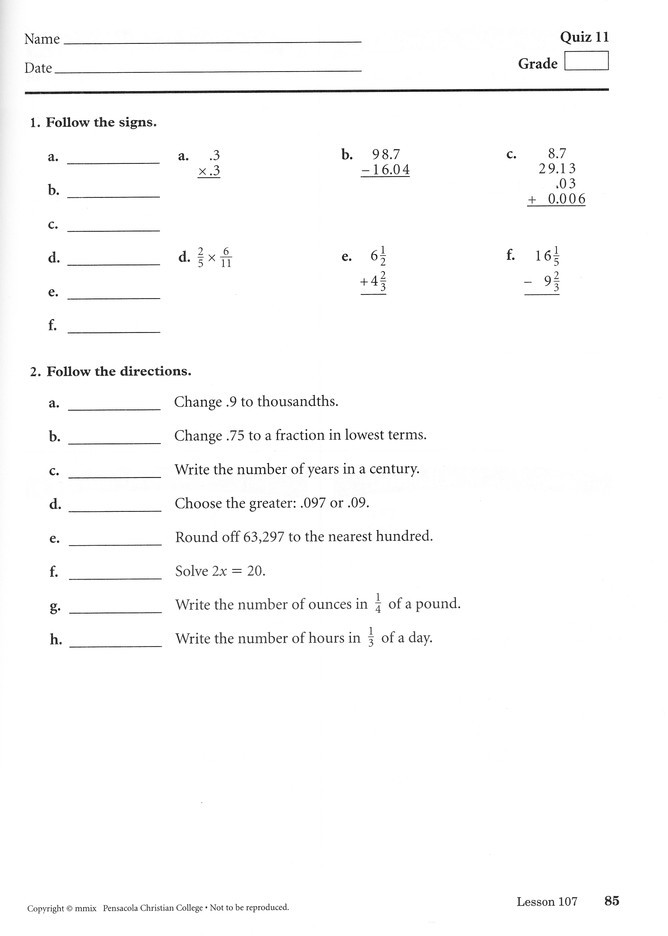 Abeka 5th Grade Math Worksheets Abeka Arithmetic 5 Quizzes Tests & Speed Drills Book