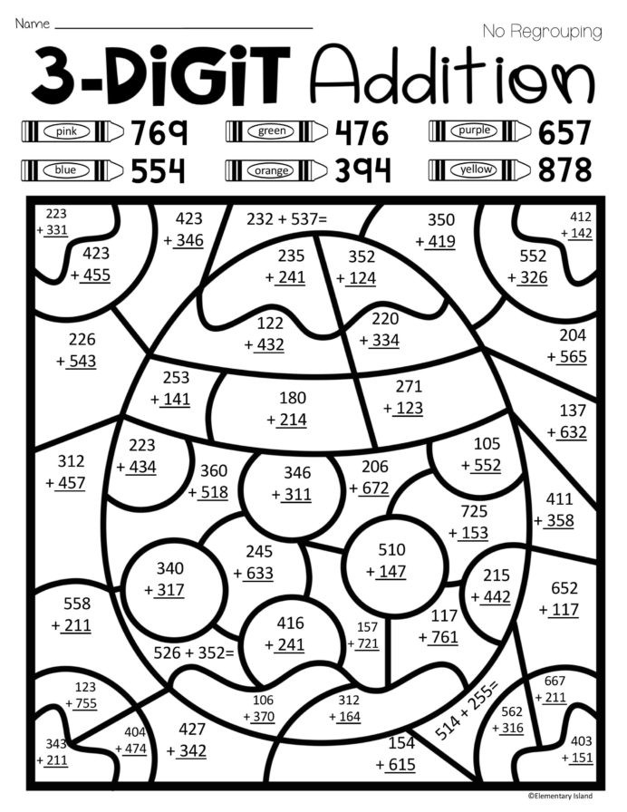 Addition Math Coloring Worksheets Easter Spring Three Digit Addition Color by Number with and